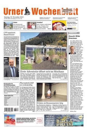 Bericht im Urner Wochenblatt vom 30. November 2019