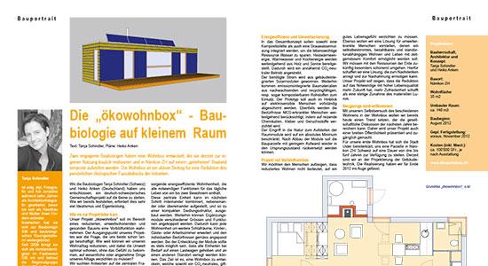 Bericht im Magazin «Baubiologie» 02/2012